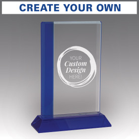 optic crystal base award with a blue edge and create your own option