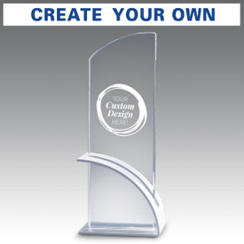 Optimist crystal award with brushed aluminum arc base featuring your custom logo