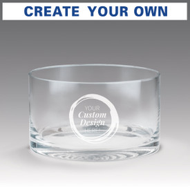 custom petite crystal recognition bowl showing where custom message will be etched