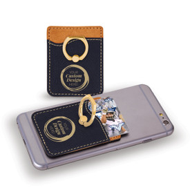 This custom phone wallet in black with stainless steel ring is the perfect functional gift for teachers.