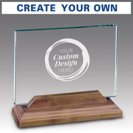 Hand cut premium jade glass with your custom logo. Includes a solid walnut base.