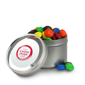 create your own round tin with M&Ms