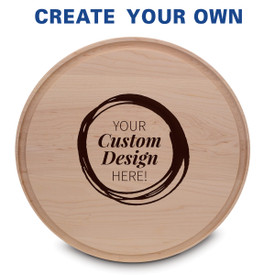 "14"" round maple cutting board with juice well featuring your custom logo"