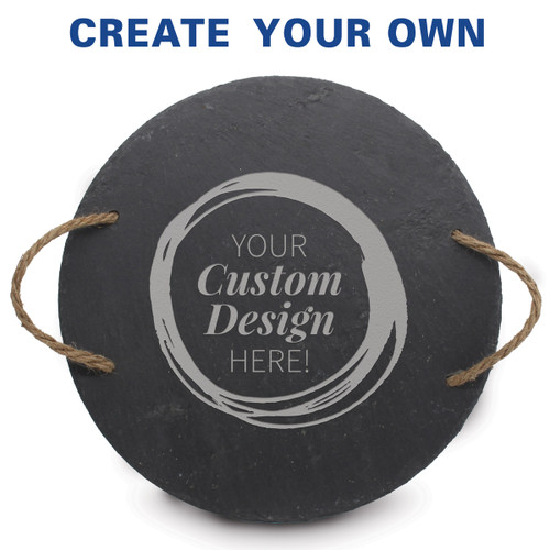 Round slate tray with rope handles featuring your custom logo.