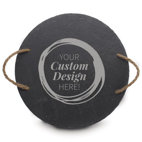 create your own round slate tray with rope handles