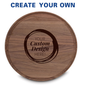 "14"" round walnut cutting board with juice well featuring your custom logo"