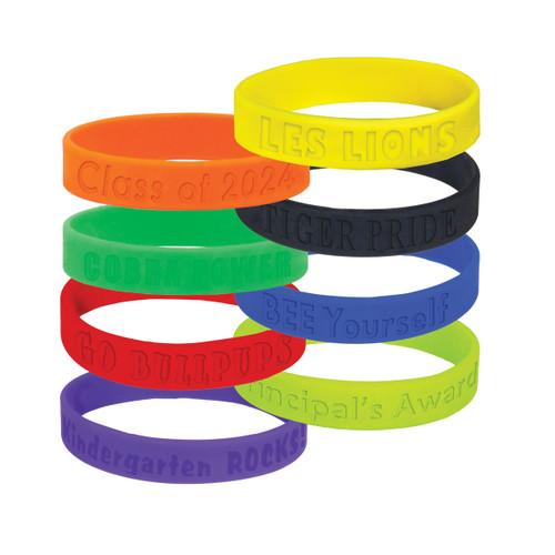 multiple colors of custom wristbands