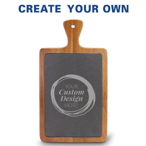 Slate and acacia wood paddle cutting board featuring your custom logo.