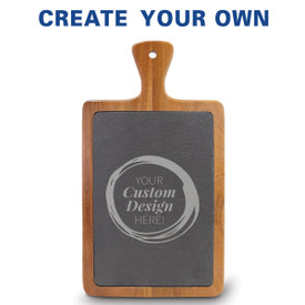Slate and acacia wood paddle cutting board featuring your custom logo.