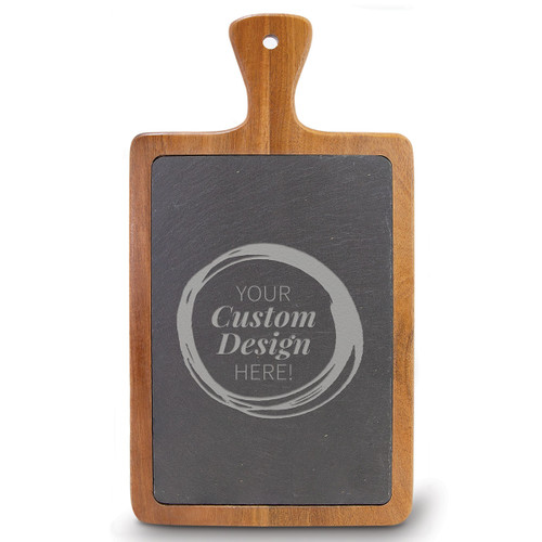 create your own slate and acacia wood paddle cutting board