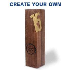 Solid walnut trophy with brushed gold years of service accents featuring your custom logo