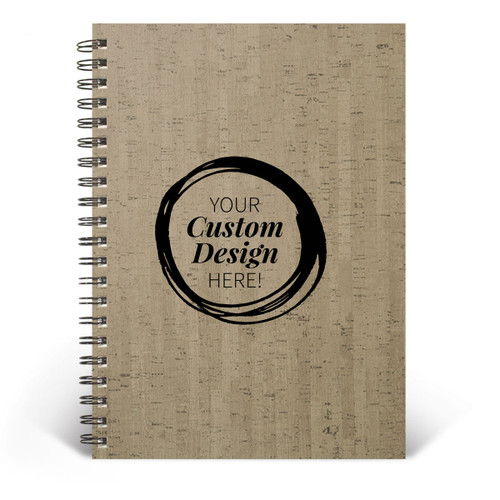 Add your logo on the cover of this Wire-Bound Cork Journal. 2 colors to choose from.