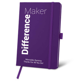 purple journal with difference maker message and personalization