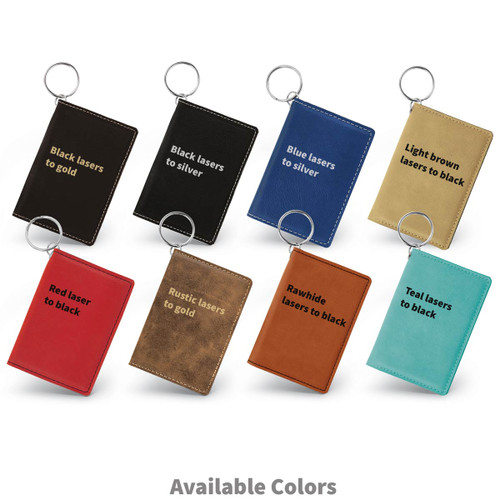 multiple colors of leather id holders with difference maker message