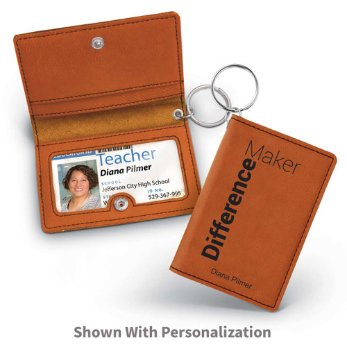 rawhide leather id holder with difference maker message