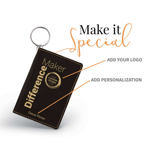 black leather id holder with difference maker message and add you logo