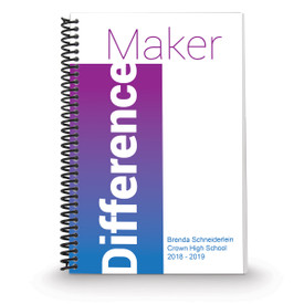 coil bound notebook with difference maker message and personalization in blue