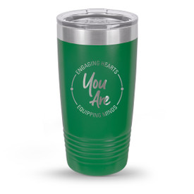 green stainless steel tumbler with engaging hearts equipping minds message