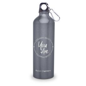 24oz. carabiner canteen featuring the inspirational message Engaging Hearts Equipping Minds. 5 colors to choose from.