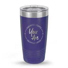 purple stainless steel tumbler with engaging hearts equipping minds message