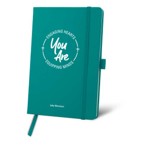 Colorful hardbound journal featuring the inspirational message Engaging Hearts Equipping Minds. 5 colors to choose from.