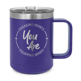 15oz. stainless steel mug features the inspirational message Engaging Hearts Equipping Minds and includes slider lid. 9 colors to choose from.