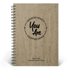 Wire-Bound Cork Journal featuring the inspirational message Engaging Hearts Equipping Minds. 2 colors to choose from.