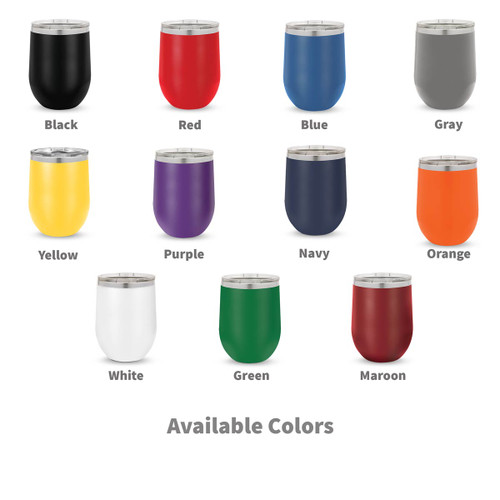 multiple colors of 12 oz. stainless steel tumblers with engaging hearts equipping minds message