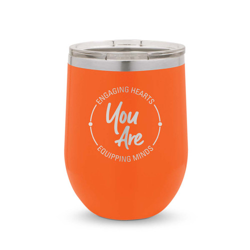 orange 12 oz. stainless steel tumblers with engaging hearts equipping minds message