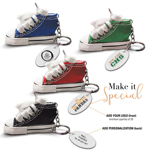 multiple colors of sneaker key ring with personalized tags