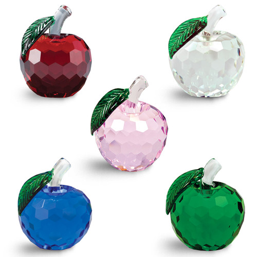 faceted crystals in red, clear, pink, blue and green