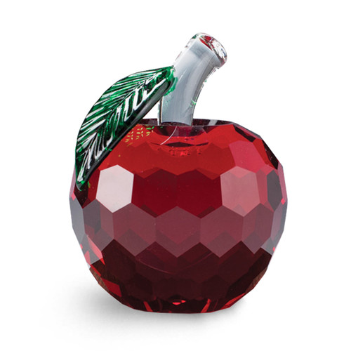 garnet solid crystal faceted apple with green leaf