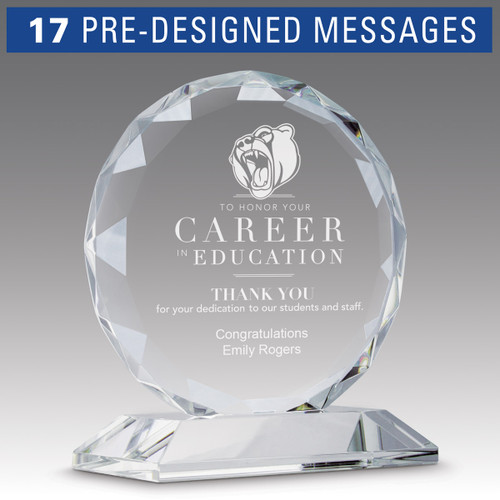 faceted circle optic crystal base award with career in education message