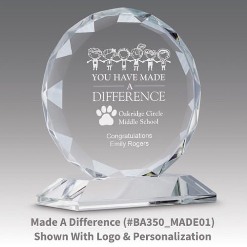 faceted circle optic crystal base award with making a difference message