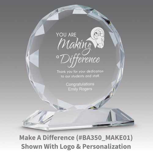 faceted circle optic crystal base award with service to the board message
