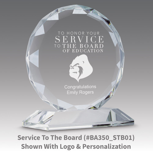 faceted circle optic crystal base award with award of excellence message