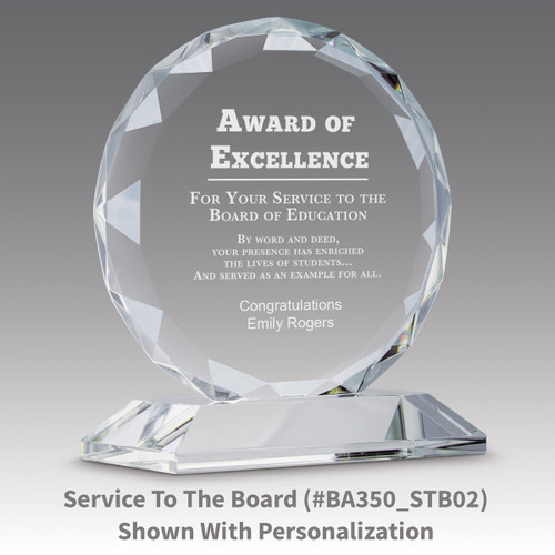 faceted circle optic crystal base award with service to the children message