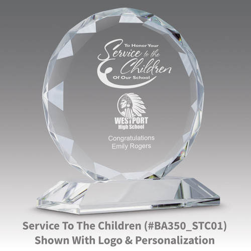 faceted circle optic crystal base award with service to education message