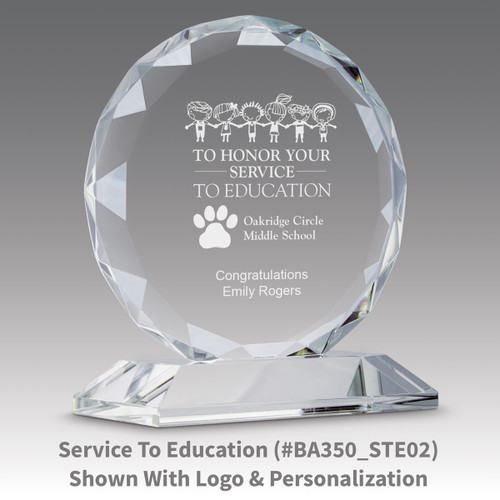 faceted circle optic crystal base award with to honor your service message