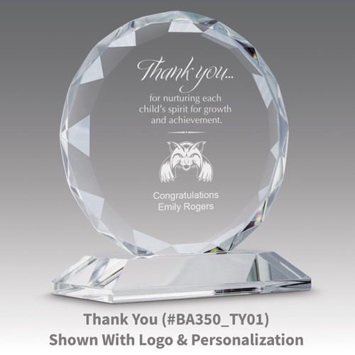 faceted circle optic crystal base award with thank you message