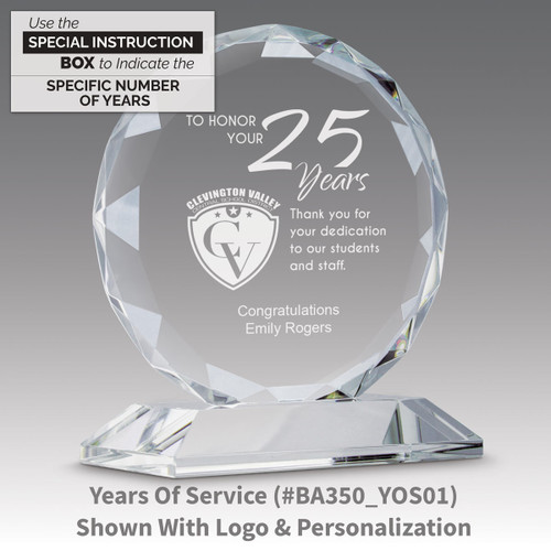 faceted circle optic crystal base award with years of service message