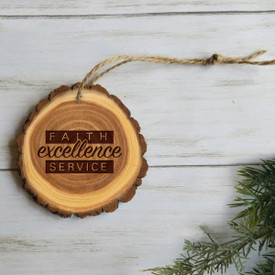 wooden ornament with faith excellence service message