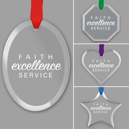 different shapes of crystal ornament with faith excellence service message and satin ribbon