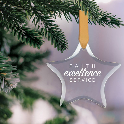 star shaped crystal ornament with faith excellence service message and gold satin ribbon