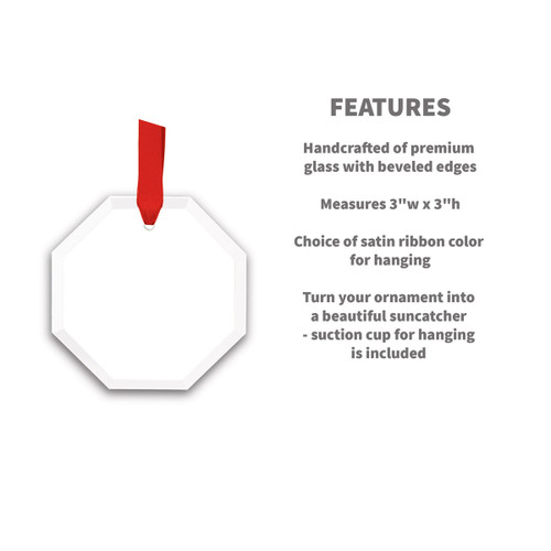 octagon crystal ornament with product detail features