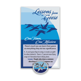 flying geese lapel pin and message card