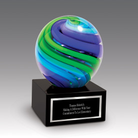Globe Art Glass Award With Blue And Green Swirls On Black Crystal Base