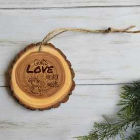wooden ornament with god's love will never melt message