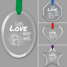 different shapes of crystal ornament with god's love will never melt message and gold cord