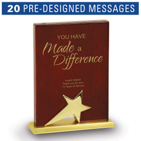 Rosewood piano finish plaque base award featuring a gold star with pre-designed service to education messages to choose from.
